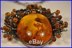 Collier Pendentif Argent Massif Ambre Solid Silver Filigree Amber Necklace