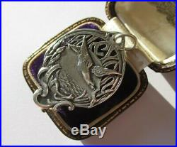 Grand pendentif ancien Alcyon Argent massif 8,7g French sterling silver charm