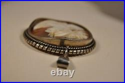 Pendentif Camee Ancien Argent Massif Antique Carved Shell Cameo Solid Silver Set