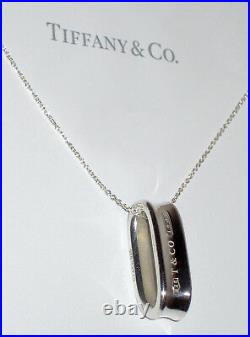 Tiffany & Co Sterling Argent Massif Chaîne Collier 1837 Ovale Boucle Pendentif